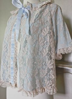 Blue Lace Illusion Bed Jacket  Beautiful by SalvatoCollection, $45.50
