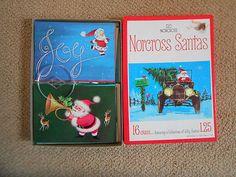 Vintage Christmas Cards Santa Claus Norcross Unused w/ box & envelopes