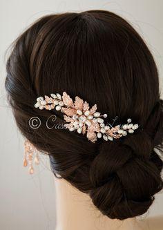 c8b6b3ee3 Rose Gold Bridal Hair Comb with Ivory Pearls - Cassandra Lynne Wedding  Braids, Bridal Hair