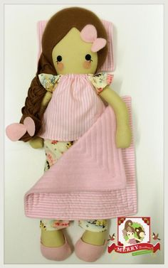 """19"""" Handmade doll wearing removable slippers, pyjama top and bottoms, includes pillow and quilt.CE marked and suitable from birth.Handwash OnlyA Mrs.H Handmade"""