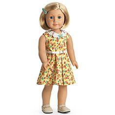 Kit's Floral-Print Dress  Cotton floral prints were very popular during Kit's day. This dress is so pretty, it's hard to believe Mother made it from the fabric of chicken feed sacks! Dress Kit up for summer fun in this outfit that features:        A sunny yellow sleeveless dress with embroidered contrast pique collar and belt      A molded plastic barrette with turquoise flowers      Tan Mary Jane shoes with scalloped details and decorative stitching
