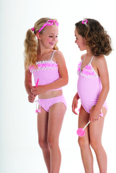 The Kate Mack Candy Carnival Collection is as sweet as cotton candy. The collection includes a full piece swimsuit, tankini, bikini and darling cover-up for sizes infant - Baby Girl Swimsuit, Girls One Piece Swimsuit, Bikini Girls, Young Girl Fashion, Little Girl Fashion, Kids Fashion, Young Models, Child Models, Dance Outfits