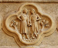 Zodiac signs at the portal of Amiens Cathedral - Gemini Gemini Symbol, Gemini Art, Gemini Sign, Zodiac Signs Gemini, Zodiac Art, Gemini Horoscope, Sculptures, Lion Sculpture, Amiens