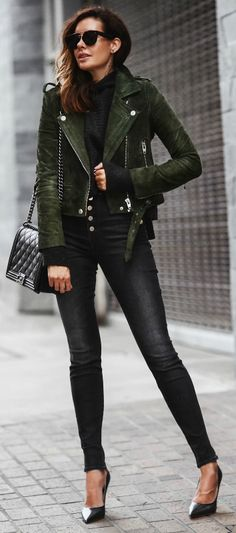 Erica Hoida + military jacket + casual yet cool outfit + the rest of the look simple so her jacket is the statement piece.  Fall Outfits: Jacket: Blanknyc , Sweater: Free People, Jeans: J Brand, Shoes: M.Gemi, Bag: Chanel Sunglasses: Celine