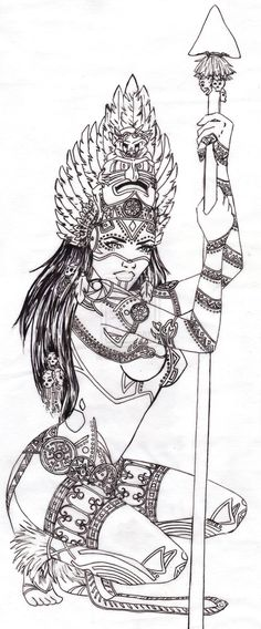 Aztec Warrior Girl Tattoo Design