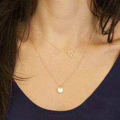 2 Strati Set Triangolo D'oro Collana Semplice Paillettes Collana Per Le Donne di Fascino Collana XL024