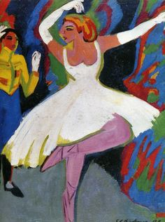 """ERNST LUDWIG KIRCHNER Russian Dancer. Ernst Ludwig Kirchner was a German expressionist painter and printmaker and one of the founders of the artists group Die Brücke or """"The Bridge"""", a key group leading to the foundation of Expressionism in 20th-century art."""