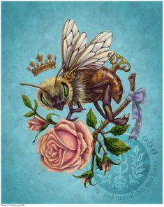 ABOUT THIS ART: 'BEE LOVE', from my VINTAGE ROMANCE series. This series is inspired by Victorian Clipart, Vintage Flower Prints and Steampunk elements. PRINTS OPTIONS: 8x10 Print - Actual paper size is 8.5x11. Matte finish. Image is formatted to fit standard 8x10 mats. This print is a b