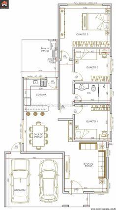 Tres dormitorios, cocina abierta y área de servicio.