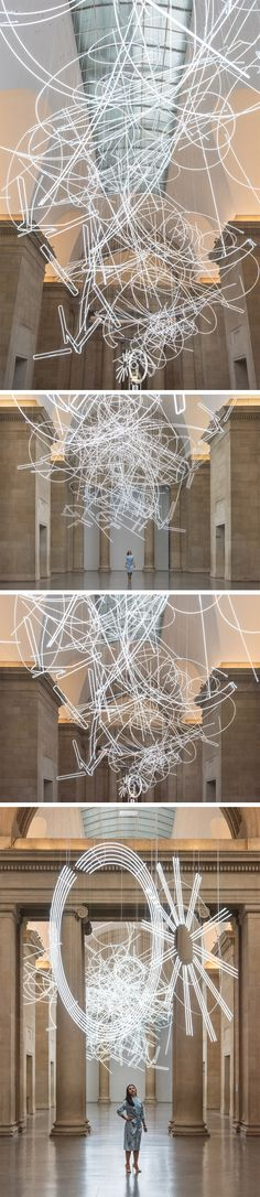 More Than a Mile of Abstract Neon Lighting Suspended Within Tate Britain