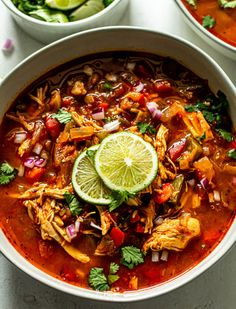 Healthy Chicken Taco Soup gives you all the flavor of a taco in a quick and easy soup! Chicken, veggies, and spices all come together in this hearty dish. Healthy Chicken Tacos, Chicken Taco Soup, Diced Chicken, Greek Chicken, Keto Chicken, Good Healthy Recipes, Whole 30 Recipes, Healthy Food, Vegan Food