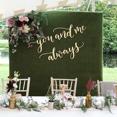 Gorgeous wedding in a stretch tent next to a lake styled by the bride who did the most beautiful job we laser cut the backdrop lettering which was designed by . Head Table Backdrop, Wall Backdrops, Backdrop Decorations, Bridal Shower Decorations, Reception Decorations, Wedding Reception Backdrop, Tent Wedding, Wedding Signage, Dream Wedding
