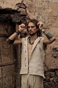 Men Vest made of fair trade Hand woven by PrimitiveTribalCraft, $95.00