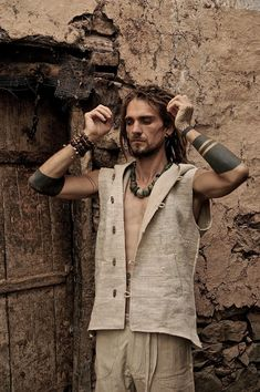 Men Vest made of fair trade Hand woven by PrimitiveTribalCraft, $95.00