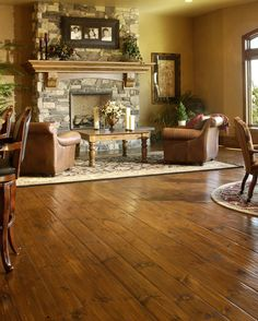Hand Scraped Eastern White Pine Living Room