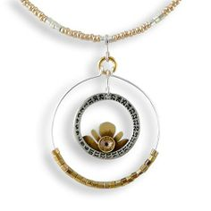 """Evening Lotus Open Circle Necklace - Vintage Watch Components and Silver-plated Brass, 17"""" and 19"""" Deb Brilla,http://www.amazon.com/dp/B008I5DCO0/ref=cm_sw_r_pi_dp_6DRrtb1PDSH04MQJ"""