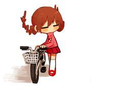 Cute Madotsuki with her bike