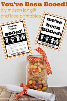 Neighborhood Fun ~~ you've been booed jar gift and printables