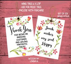 Boho Style Junkin Hang Tags-Thank You by lindakdesign on Etsy