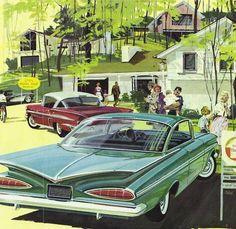 Wonderful Suburbia, 1959. Check out that rear window. We had one similar to this in Ryoal Blue!