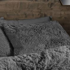 Catherine Lansfield Cuddly Deep Pile Shaggy Faux Fur Fleece Duvet Cover Set, Charcoal, Super King