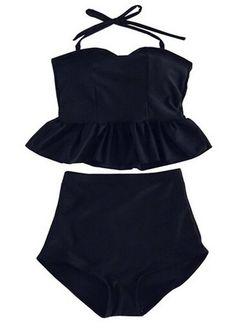 Swimsuit Viva Rose® 2pcs High Waisted Stripe Figure-shaping Women's Swimwear (FBA) (L (US 12-14), Black)