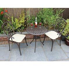 Bentley Garden Furniture 3 Piece Cast Aluminium Bistro Set Table & 2 Arm Chairs