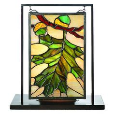Acorn Lighted Tabletop Stained Glass Window At Rocky Mountain Decor