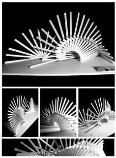 Scale Concept Model illustrates two opposing forces of movement, speed, and time. The instability of time is conveyed well through this post. Movement Architecture, Concept Models Architecture, Architecture Model Making, Paper Architecture, Pavilion Architecture, Architecture Design, Indien Design, Nirmana 3d, Module Design