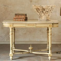 pale creamy yellow & gilt...Love this table!