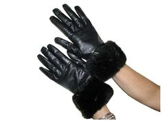 Cashmere Lined Black Lambskin Leather Gloves w/Mahogany Mink Trim 8.5 *** Click image for more details.