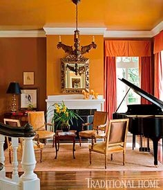 Semigloss paints in warm neutral hues call attention to the plaster walls and ceilings. Tailored linen window treatments honor the architecture without being fussy. - Photo: John Granen / Design: Mark Ashby and Mary Ames Piano Living Rooms, Formal Living Rooms, Living Spaces, Home And Living, Home And Family, Family Rooms, Grand Piano Room, Luxury Interior, Interior Design