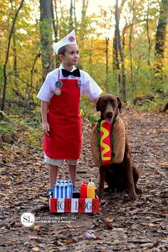 Cute Halloween costumes for dogs and owners. Find some DIY ideas that work great for guys, gals, kids & their favorite dog or dogs. Best Picture For DIY Costume angel For Your Taste You are looking fo Dog And Owner Costumes, Dog Costumes For Kids, Diy Dog Costumes, Animal Costumes, Cute Costumes, Costume Ideas, Zombie Costumes, Homemade Costumes, Family Costumes