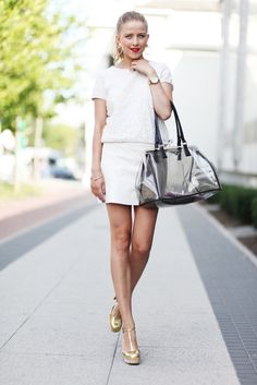 JEMERCED by Jessy Mercedes: WHITE LOOK WITH GOLDEN DETAILS - MIU MIU & PRADA