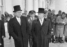 President-elect John Fitzgerald Kennedy and President Dwight Eisenhower leave the White House in Washington, D.C. for Capitol Hill before Kennedy' swearing-in ceremony, Jan. 20, 1961.