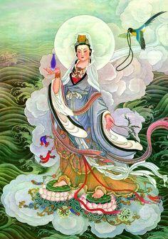 Kuan Yin - forma feminina do bodhisatva Avalokiteshvara Chinese Painting, Chinese Art, Art Asiatique, Tibetan Art, Buddha Art, Buddha Buddhism, Taoism, Goddess Art, Guanyin