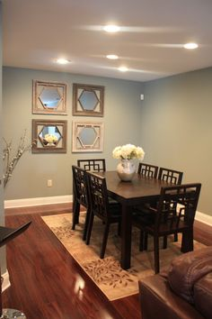 Michelle ThorntonNovember 11, 2012 at 6:42 PM:Paint color for the dining room with the blue/green walls is Behr's- Sage Gray 710F-4