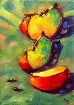 "Daily Paintworks - ""Three apple slices"" - Original Fine Art for Sale - © Irina Beskina"