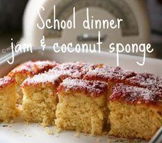School dinners 'jam and coconut sponge cake' recipe Jam And Coconut Cake, Coconut Sponge Cake, Slushies, Indian Cake, Sponge Cake Recipes, Zucchini Cake, Salty Cake, Cake Tins, Savoury Cake