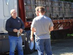 September 24th, 2012    Adam and Kirk (Double A Vineyards harvesting partner) go over shipment details with Gary our truck driver from Rizzo Trucking. During Welch's harvesting we typically do around 4 loads a day for 2-3 weeks (weekends included) with each load consisting of 20 one-ton boxes of grapes.