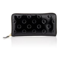 Comme des Garçons Women's Long Zip-Around Wallet (€330) ❤ liked on Polyvore featuring bags, wallets, black, pocket wallet, leather wallets, leather zip wallet, leather bags and long zipper wallet