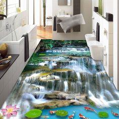 3 d suelo de pvc custom etiqueta de la pared 3d montaña cascadas carp 3d piso del baño de la pintura foto de papel tapiz para paredes 3d