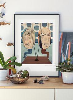 Lovers. lllustration art print signed by Pawel Jonca (me). A2 poster. Loving couple sitting in front of TV. giclee print polish poster art, $45