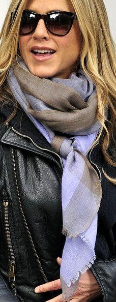 Jennifer Aniston Patterned Scarf