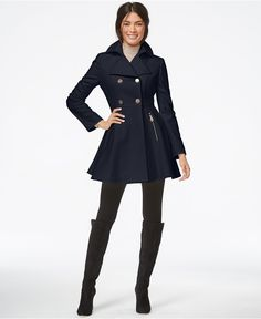 Laundry by Shelli Segal Double-Breasted Flared Peacoat - Coats - Women - Macy's