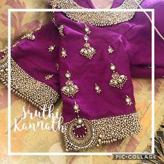 Zardosi Work Blouse, Pattu Saree Blouse Designs, Bridal Blouse Designs, Sari Blouse, Churidar, Anarkali, Lehenga Saree, Sarees, Indian Bridal Wear