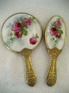 Antique Porcelain-Backed Hand Mirror & Brush Set / Antiques Off Broadway