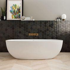 Bathroom Goals, Small Bathroom, Master Bathroom, Bathrooms, Modern Bathroom Design, Bathroom Interior, Wood Effect Floor Tiles, Marble Bath, Black Tiles