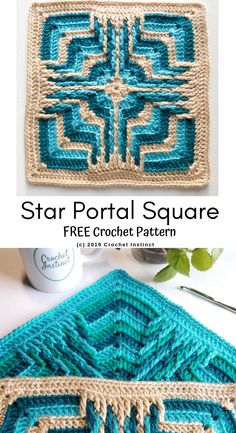 Star Portal Square is a free pattern worked in overlay crochet which is very textural. Crochet Squares Afghan, Crochet Quilt, Granny Square Crochet Pattern, Crochet Blocks, Afghan Crochet Patterns, Crochet Granny, Crochet Motif, Crochet Stitches, Granny Squares