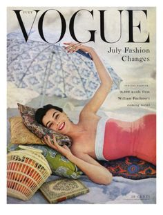 Vogue Cover - July 1954 Giclee Print by Karen Radkai at Art.co.uk